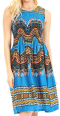 Sakkas Darcia Women's Casual Summer Cocktail Elastic Stretchy Dashiki Print Dress#color_Turq