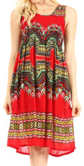 Sakkas Darcia Women's Casual Summer Cocktail Elastic Stretchy Dashiki Print Dress#color_Fuchsia