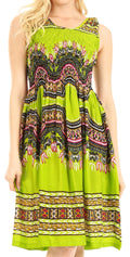 Sakkas Darcia Women's Casual Summer Cocktail Elastic Stretchy Dashiki Print Dress#color_Green