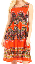 Sakkas Darcia Women's Casual Summer Cocktail Elastic Stretchy Dashiki Print Dress#color_Orange