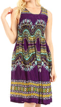 Sakkas Darcia Women's Casual Summer Cocktail Elastic Stretchy Dashiki Print Dress#color_Purple