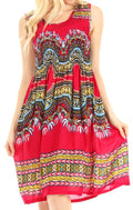 Sakkas Darcia Women's Casual Summer Cocktail Elastic Stretchy Dashiki Print Dress#color_Red