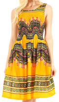 Sakkas Darcia Women's Casual Summer Cocktail Elastic Stretchy Dashiki Print Dress#color_Yellow