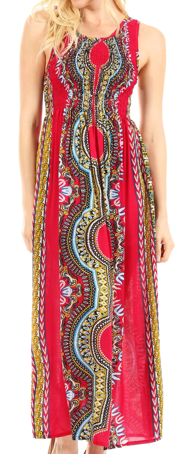 Sakkas Linza Women's Sleeveless Casual Maxi Dashiki African Print Dress Long Nice#color_Fuschia