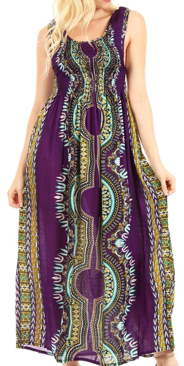 Sakkas Linza Women's Sleeveless Casual Maxi Dashiki African Print Dress Long Nice#color_Purple