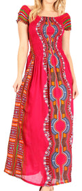 Sakkas Siona Women's Long Maxi Casual Off Shoulder Dashiki African Dress Elastic#color_Fuschia