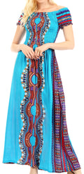 Sakkas Siona Women's Long Maxi Casual Off Shoulder Dashiki African Dress Elastic#color_Turq