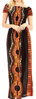 Sakkas Siona Women's Long Maxi Casual Off Shoulder Dashiki African Dress Elastic#color_Black