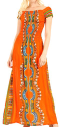 Sakkas Siona Women's Long Maxi Casual Off Shoulder Dashiki African Dress Elastic#color_Orange