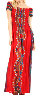 Sakkas Siona Women's Long Maxi Casual Off Shoulder Dashiki African Dress Elastic#color_Red
