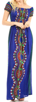 Sakkas Siona Women's Long Maxi Casual Off Shoulder Dashiki African Dress Elastic#color_Royalblue