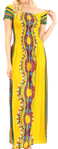 Sakkas Siona Women's Long Maxi Casual Off Shoulder Dashiki African Dress Elastic#color_Yellow