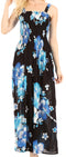 Sakkas Naida Women's  Casual Summer Long Sleeveless Stretchy Floral Print Dress#color_B-Blue