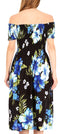 Sakkas Nur Women's Smock Elastic Cocktail Midi Sleeve Off Shoulder Floral Dress#color_B-Blue