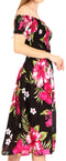 Sakkas Nur Women's Smock Elastic Cocktail Midi Sleeve Off Shoulder Floral Dress