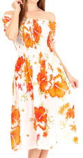 Sakkas Nur Women's Smock Elastic Cocktail Midi Sleeve Off Shoulder Floral Dress#color_W-Orange