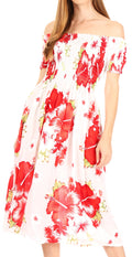 Sakkas Nur Women's Smock Elastic Cocktail Midi Sleeve Off Shoulder Floral Dress#color_W-Red