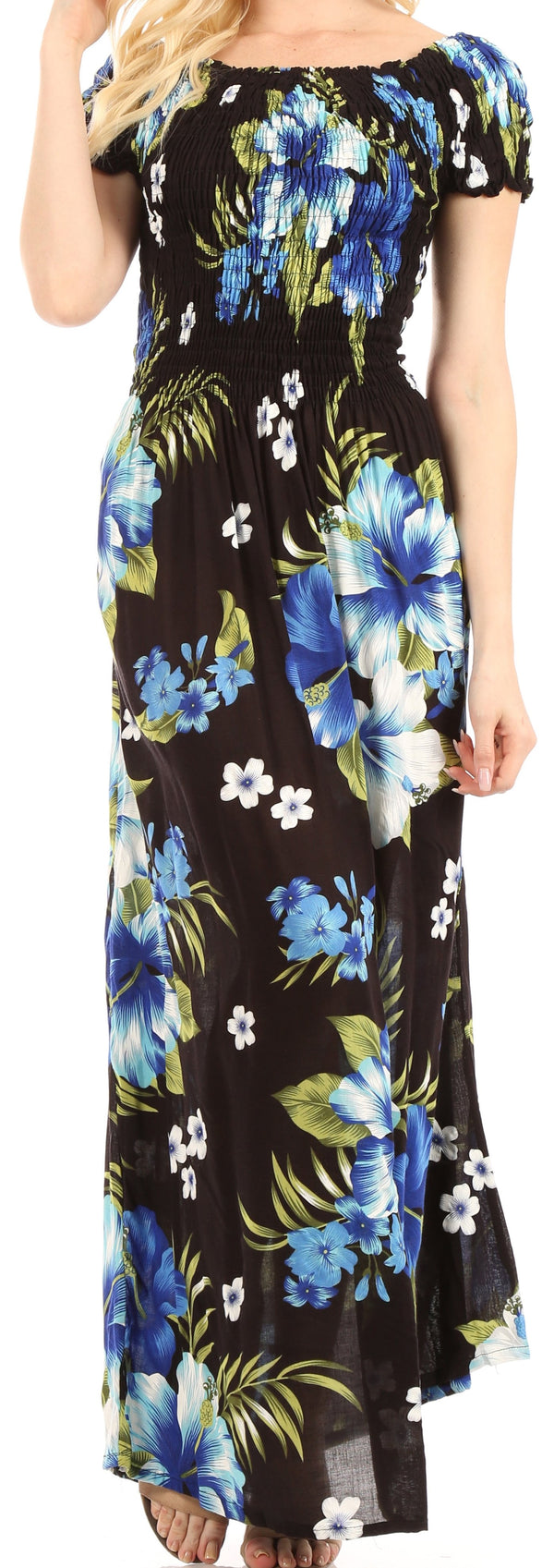 Sakkas Tulay Women's Casual Maxi Floral Print Off Shoulder Dress Short Sleeve Nice#color_B-Blue