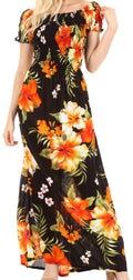 Sakkas Tulay Women's Casual Maxi Floral Print Off Shoulder Dress Short Sleeve Nice#color_B-Orange