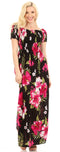 Sakkas Tulay Women's Casual Maxi Floral Print Off Shoulder Dress Short Sleeve Nice