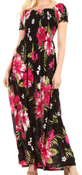 Sakkas Tulay Women's Casual Maxi Floral Print Off Shoulder Dress Short Sleeve Nice#color_B-Pink