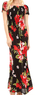 Sakkas Tulay Women's Casual Maxi Floral Print Off Shoulder Dress Short Sleeve Nice#color_B-Red