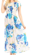 Sakkas Tulay Women's Casual Maxi Floral Print Off Shoulder Dress Short Sleeve Nice#color_W-Blue