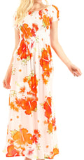 Sakkas Tulay Women's Casual Maxi Floral Print Off Shoulder Dress Short Sleeve Nice#color_W-Orange