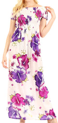 Sakkas Tulay Women's Casual Maxi Floral Print Off Shoulder Dress Short Sleeve Nice#color_W-Purple
