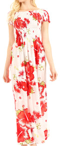 Sakkas Tulay Women's Casual Maxi Floral Print Off Shoulder Dress Short Sleeve Nice#color_W-Red