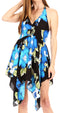 Sakkas Svana Women's V-neck Spaghetti Strap Floral Print Summer Casual Short Dress#color_B-Blue