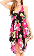 Sakkas Svana Women's V-neck Spaghetti Strap Floral Print Summer Casual Short Dress#color_B-Pink