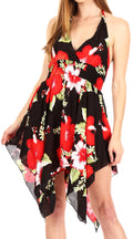 Sakkas Svana Women's V-neck Spaghetti Strap Floral Print Summer Casual Short Dress#color_B-Red