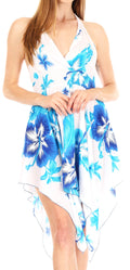 Sakkas Svana Women's V-neck Spaghetti Strap Floral Print Summer Casual Short Dress#color_W-Blue