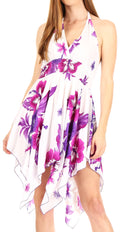 Sakkas Svana Women's V-neck Spaghetti Strap Floral Print Summer Casual Short Dress#color_W-Purple