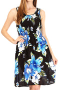 Sakkas Murni Women's Casual Summer Cocktail Elastic Stretchy Floral Print Dress#color_B-Blue