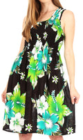 Sakkas Murni Women's Casual Summer Cocktail Elastic Stretchy Floral Print Dress#color_B-Green
