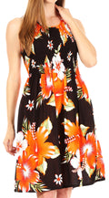 Sakkas Murni Women's Casual Summer Cocktail Elastic Stretchy Floral Print Dress#color_B-Orange