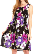 Sakkas Murni Women's Casual Summer Cocktail Elastic Stretchy Floral Print Dress#color_B-Purple