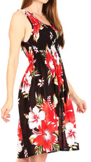 Sakkas Murni Women's Casual Summer Cocktail Elastic Stretchy Floral Print Dress