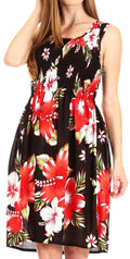 Sakkas Murni Women's Casual Summer Cocktail Elastic Stretchy Floral Print Dress#color_B-Red