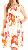 Sakkas Murni Women's Casual Summer Cocktail Elastic Stretchy Floral Print Dress#color_W-Orange
