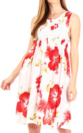 Sakkas Murni Women's Casual Summer Cocktail Elastic Stretchy Floral Print Dress#color_W-Red
