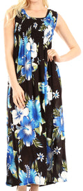 Sakkas Iyabo Women's Sleeveless Casual Summer Floral Print Dress Maxi Long Stretch#color_B-Blue