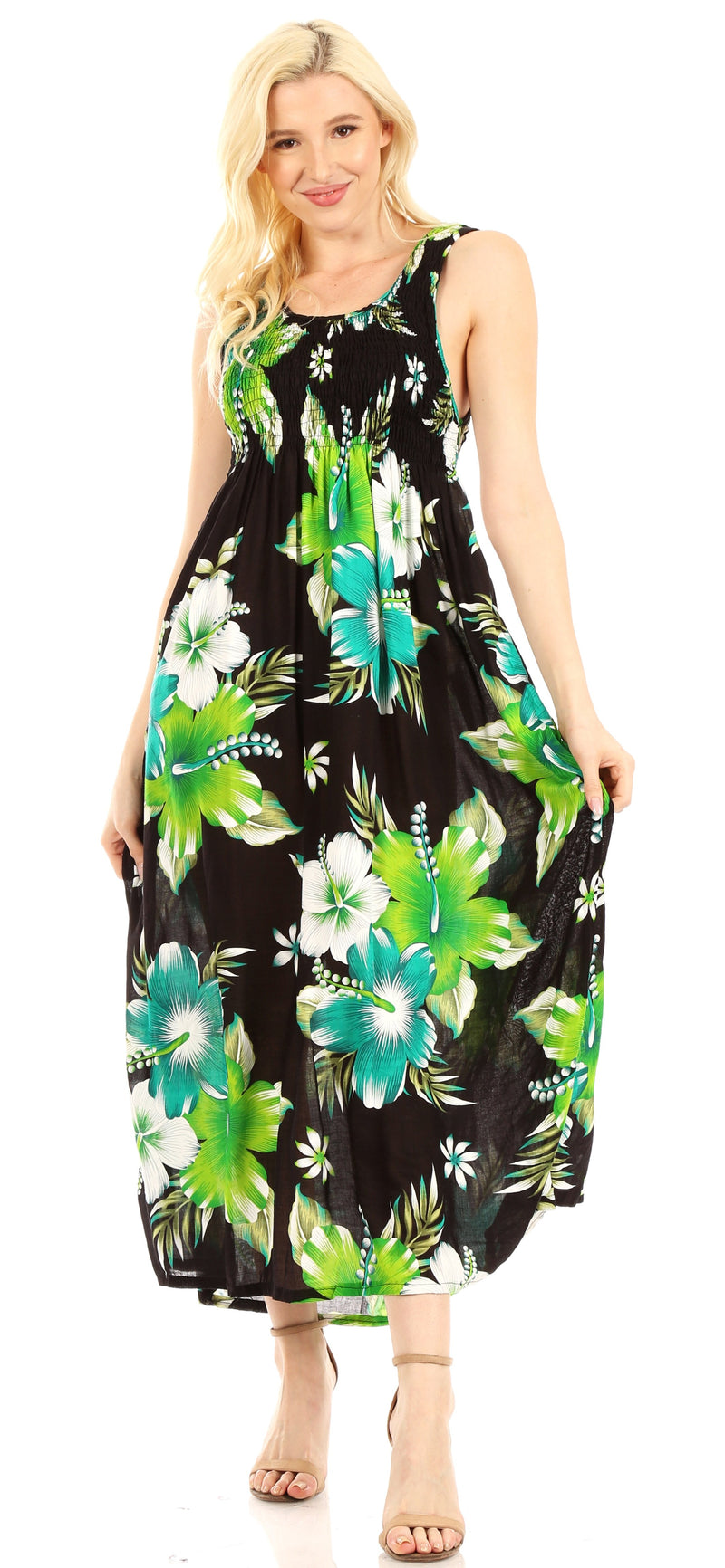 Sakkas Iyabo Women's Sleeveless Casual Summer Floral Print Dress Maxi Long Stretch