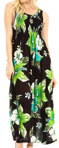 Sakkas Iyabo Women's Sleeveless Casual Summer Floral Print Dress Maxi Long Stretch#color_B-Green
