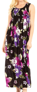 Sakkas Iyabo Women's Sleeveless Casual Summer Floral Print Dress Maxi Long Stretch#color_B-Purple