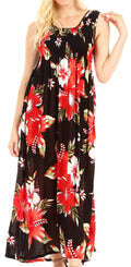 Sakkas Iyabo Women's Sleeveless Casual Summer Floral Print Dress Maxi Long Stretch#color_B-Red