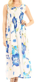 Sakkas Iyabo Women's Sleeveless Casual Summer Floral Print Dress Maxi Long Stretch#color_W-Blue