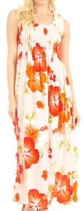 Sakkas Iyabo Women's Sleeveless Casual Summer Floral Print Dress Maxi Long Stretch#color_W-Orange